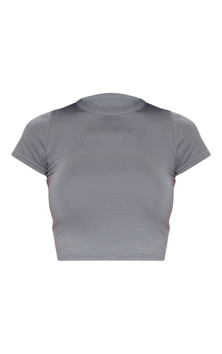 Grey Cotton Short Sleeve Crop Top 3