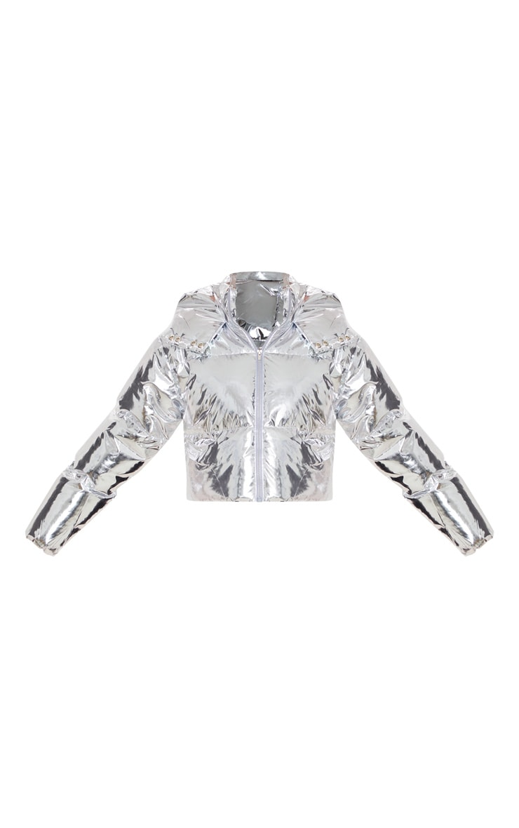 Silver Metallic Crop Puffer Jacket 3