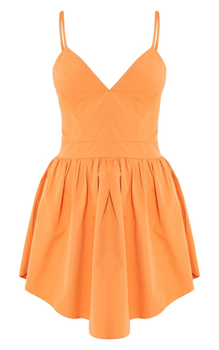 Orange Textured Strappy V Neck Skater Dress 5