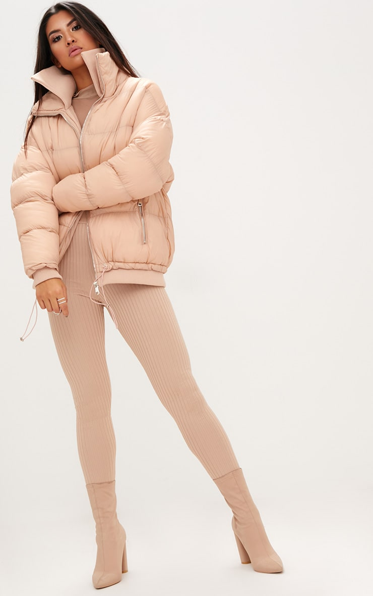 Nude Oversized Puffer Jacket with Zip Pockets 4