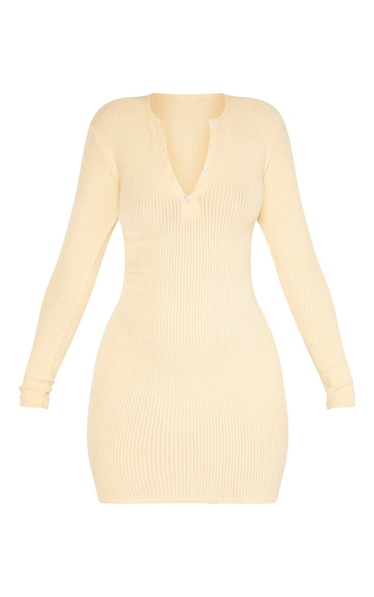 Sand Brushed Rib Long Sleeve Bodycon Dress 3