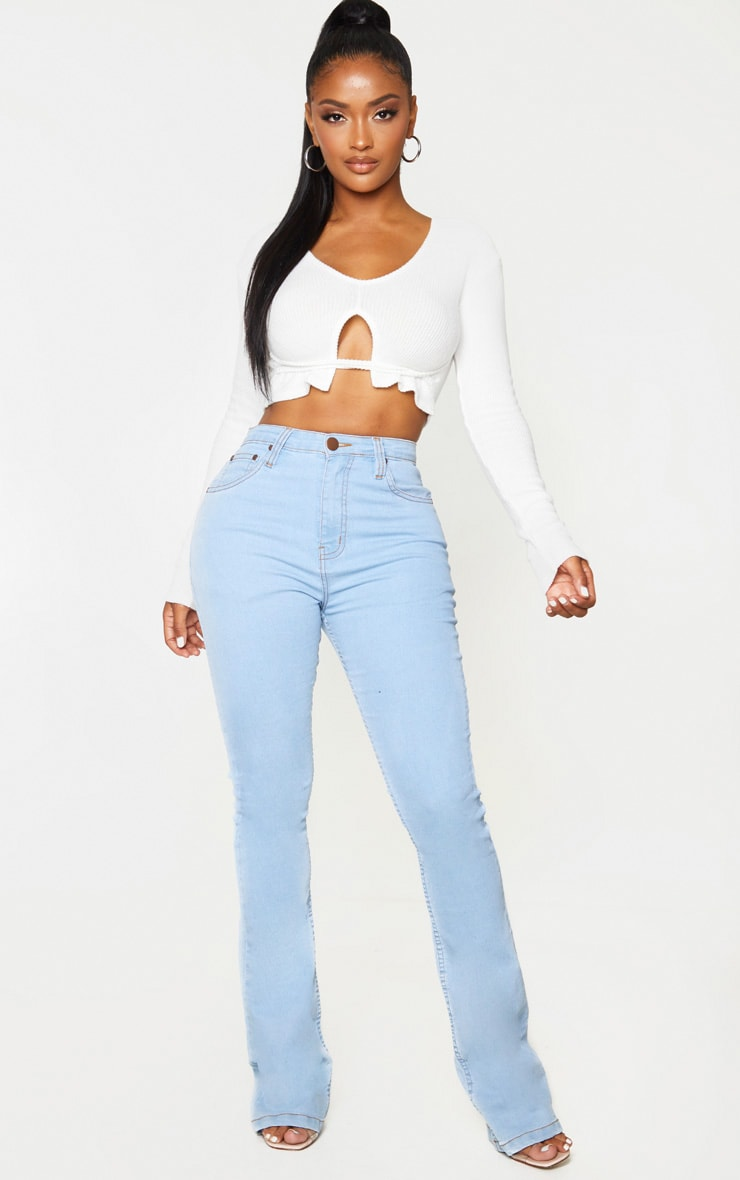 Shape Cream Brushed Rib Strap Detail Crop Top 3