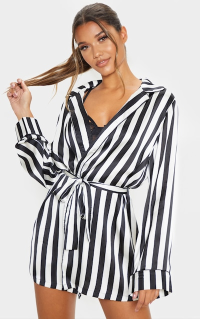 Black And White Satin Piped Robe