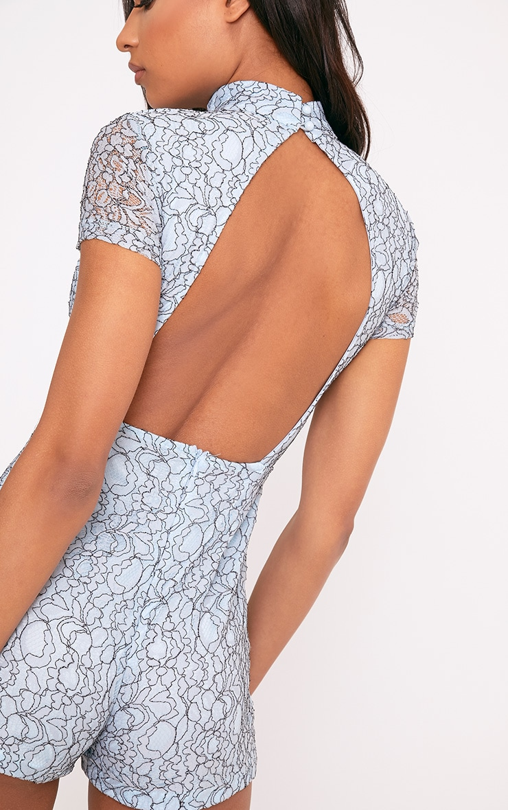Mandy Blue Lace Open Back Playsuit 6