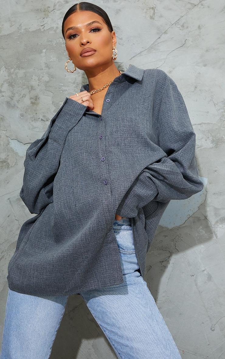 Dark Grey Oversized Cuff Shirt image 1