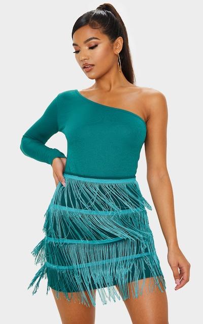 Emerald Green Tiered Fringe Mini Skirt