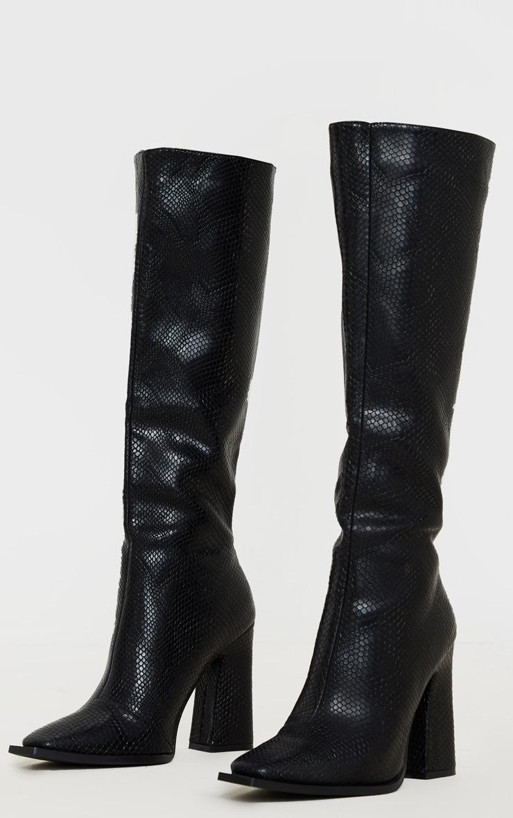 Black Square Toe Block Heel Calf Boot 3