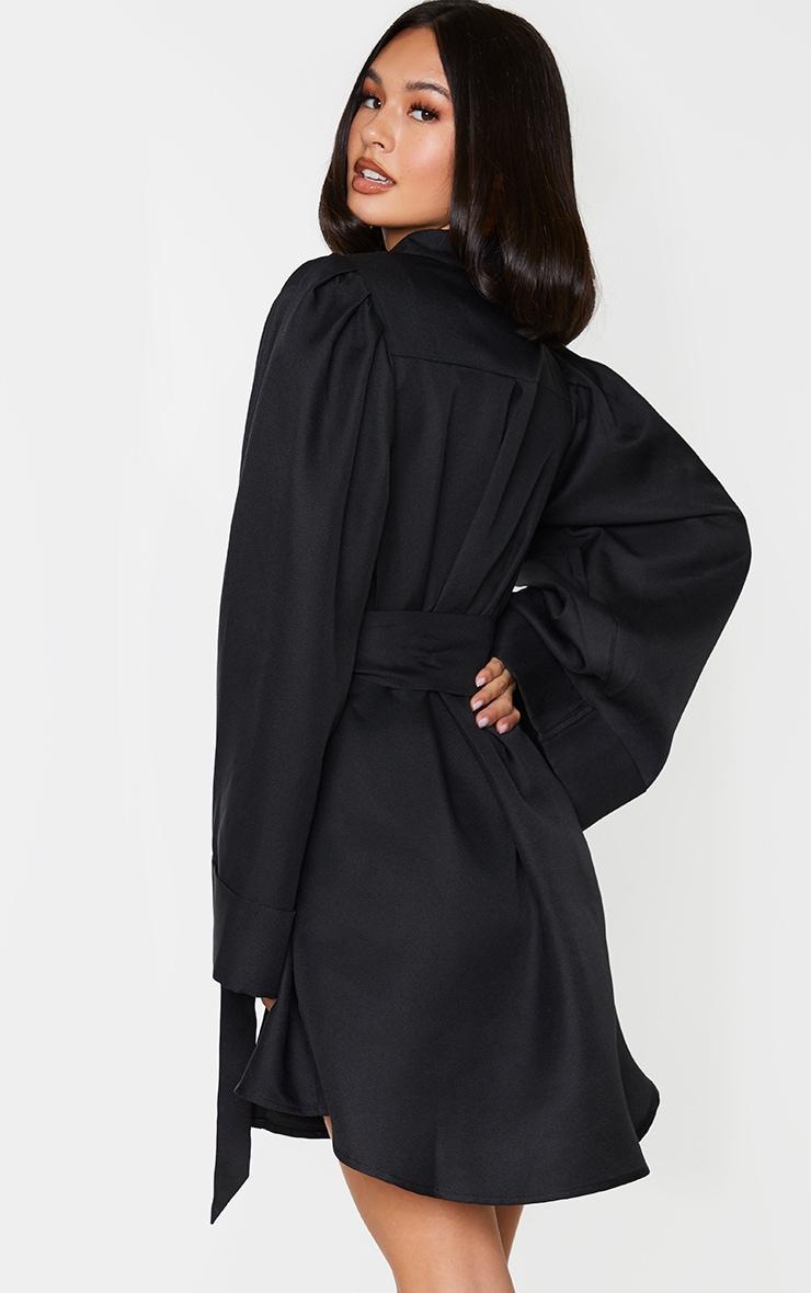Black Flare Puff Sleeve Tie Waist Shirt Dress 2