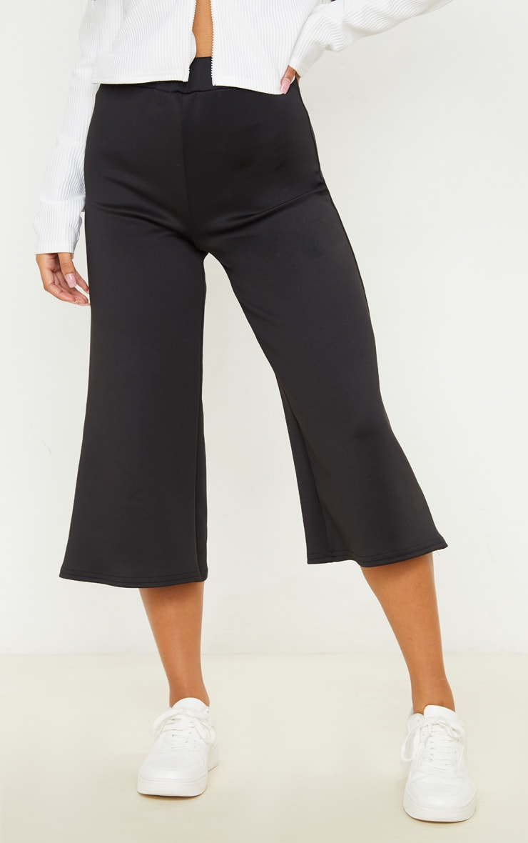 Black High Waisted Scuba Culottes 2