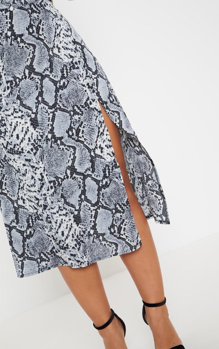 Grey Snake Print Wrap Skirt Midi Dress Prettylittlething