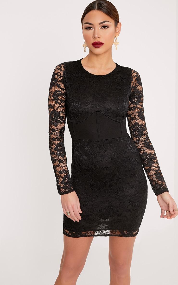 Maya Black Lace Corset Detail Bodycon Dress 1