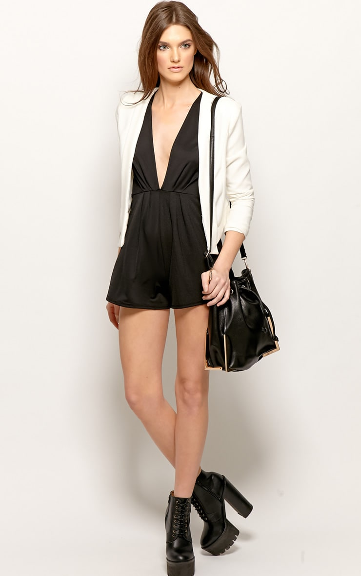 Allie Black V Neck Playsuit 3