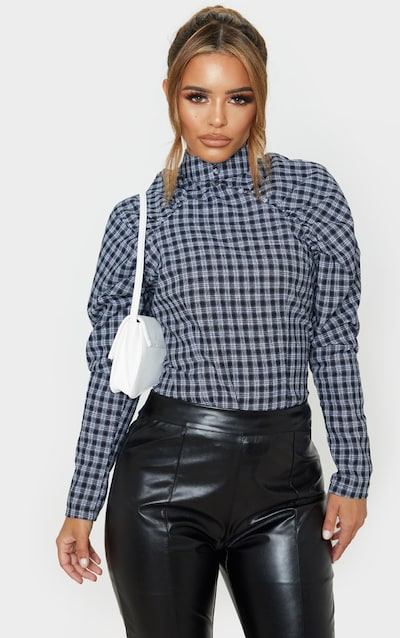 Petite Grey Checked Puff Sleeve Blouse