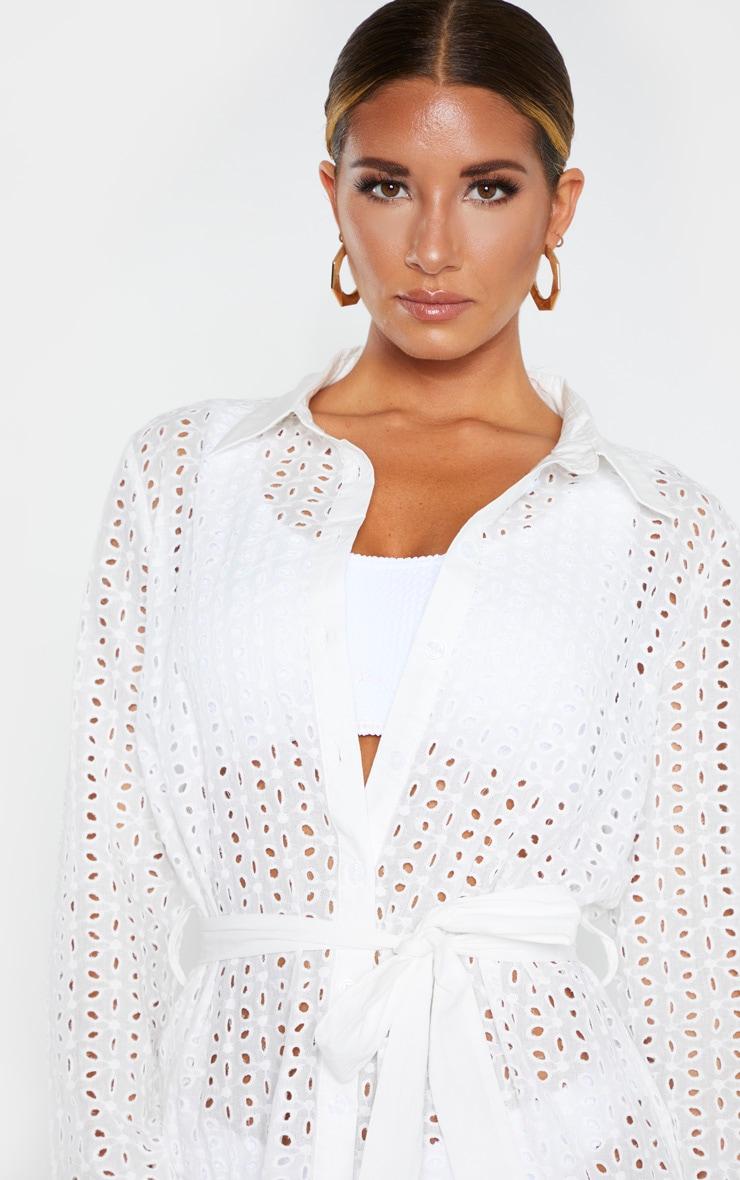White Broderie Tie Waist Beach Dress 5
