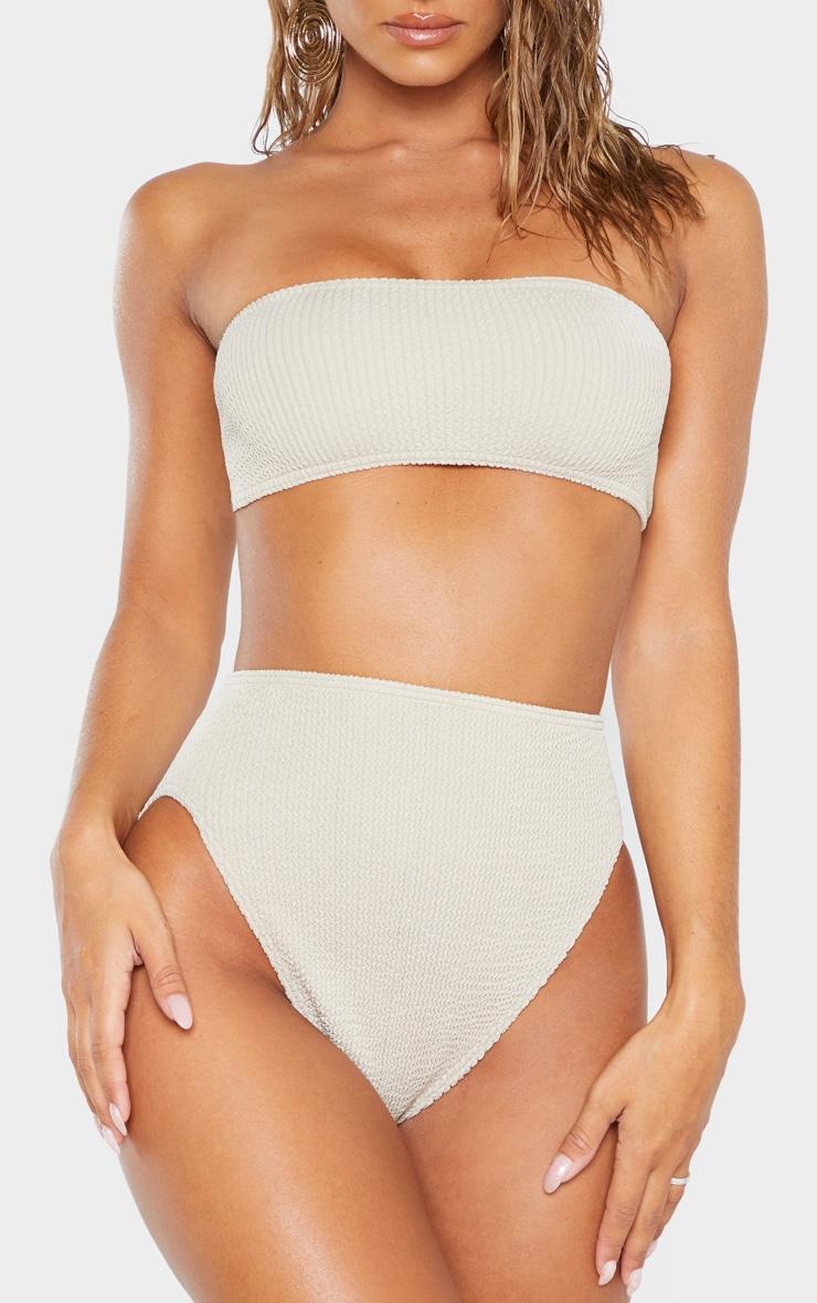 Taupe Crinkle High Waist Bikini Bottom 1