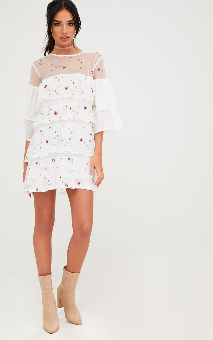 White Embroidered Tiered Mesh Shift Dress 4