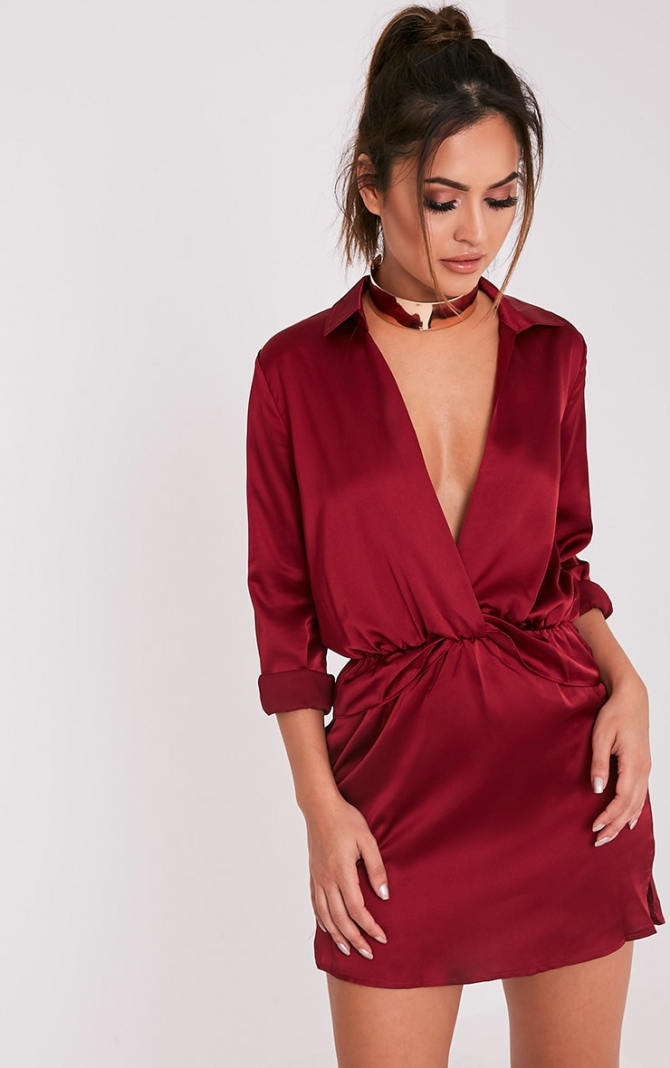 Katalea Burgundy Twist Front Silky Shirt Dress 1
