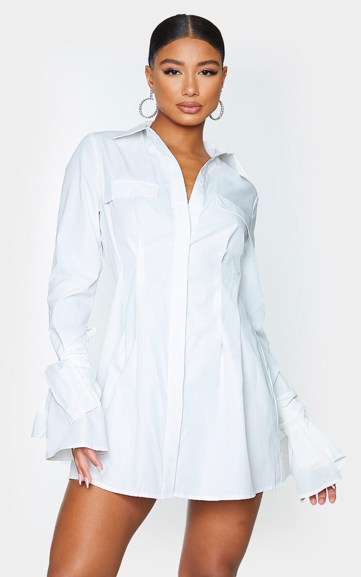 White Tie Cuff Detail Pleated Shirt Dress 1