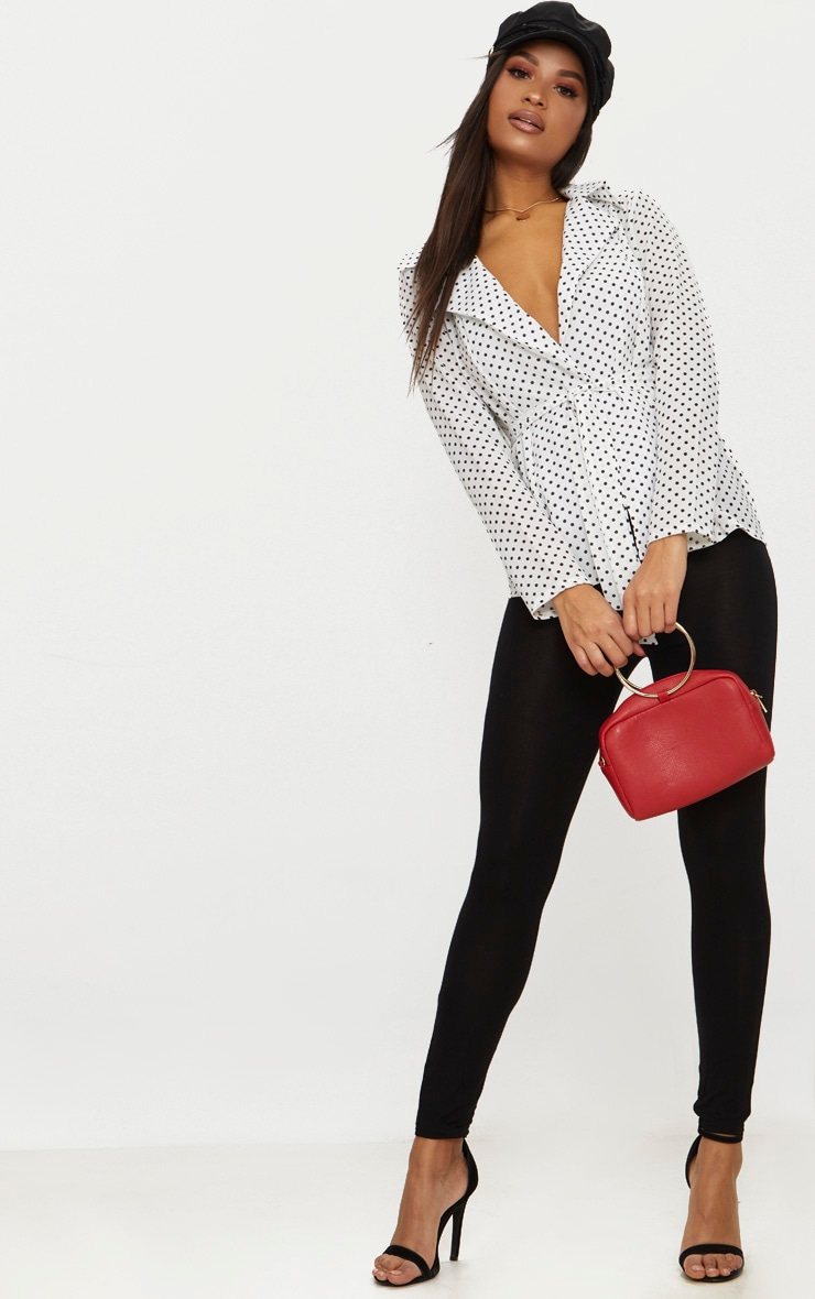 White Polka Dot Belted Top 4