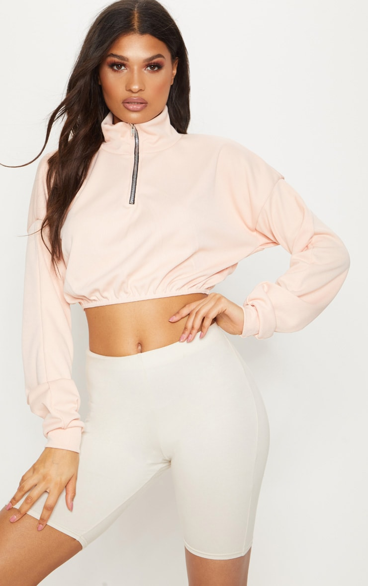 Peach Rib Zip Front Long Sleeve Sweater  1