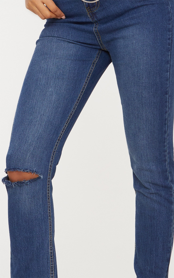 Dark Wash Rip Detail Raw Hem Straight Leg Jean 4