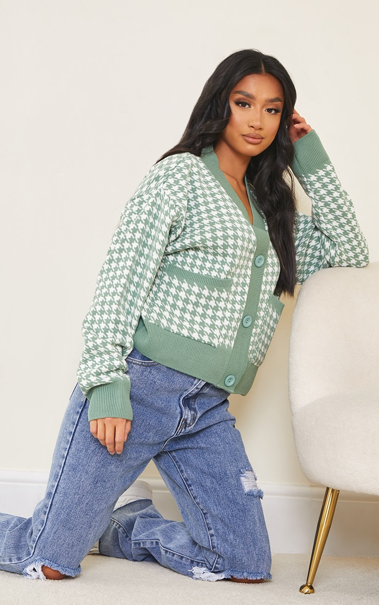 Petite Green Check Oversized Cardigan 3