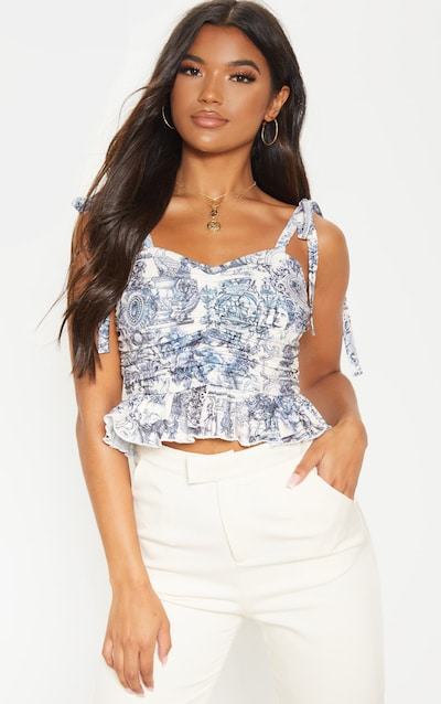 Navy Cupid Sketch Printed Rib Peplum Ruched Crop Top