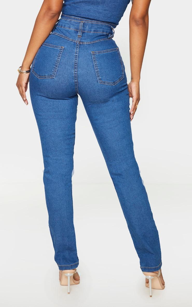 Shape Mid Blue Wash High Waist Straight Leg Jeans 3