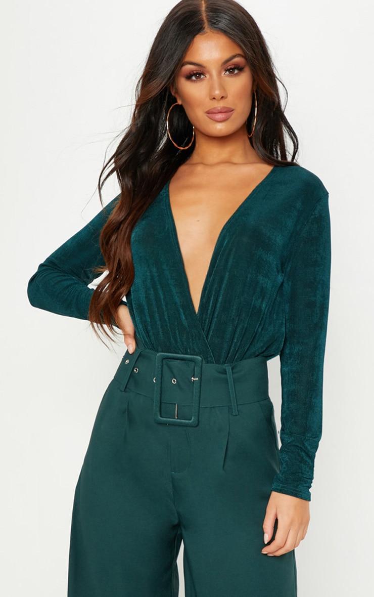 Emerald Slinky Plunge Bodysuit 1