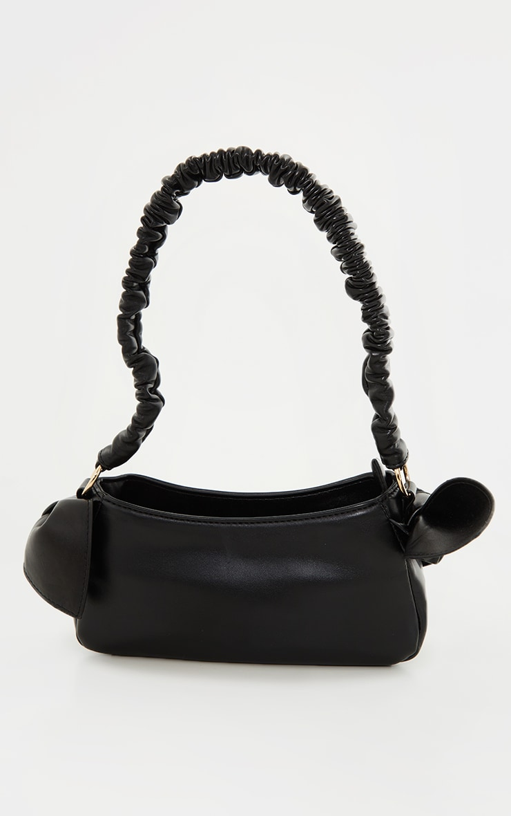 Black Ruched Handle Double Bow Shoulder Bag 2