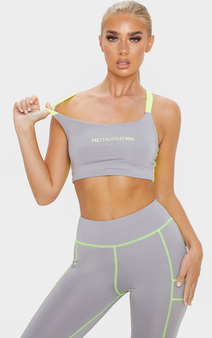 PRETTYLITTLETHING Grey Contrast Sports Crop Top 1