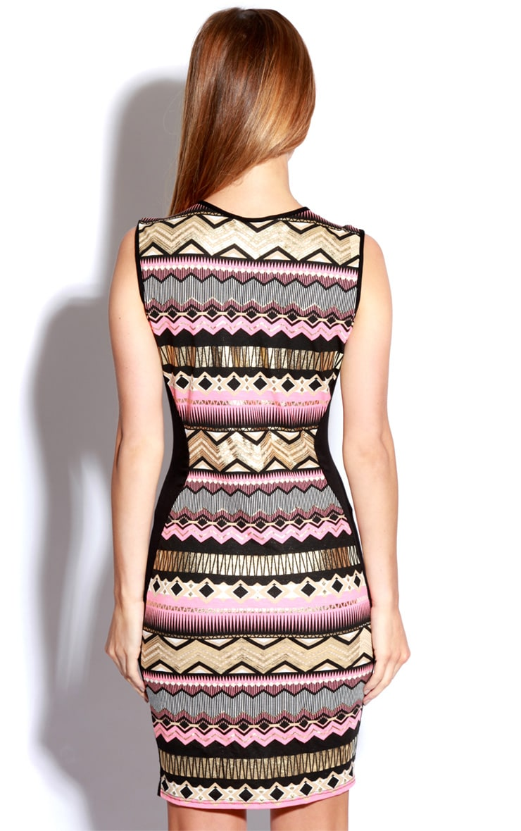 Jeena Aztec Foil Print Bodycon Dress 3