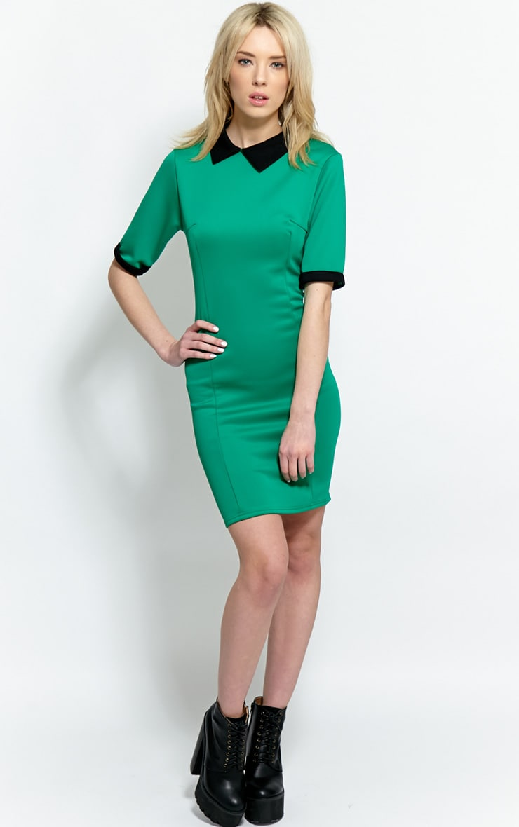 Katrina Green Dress With Black Collar 3