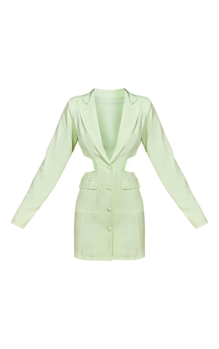 Lime Shoulder Pad Waist Cut Out Long Sleeve Blazer Dress 5