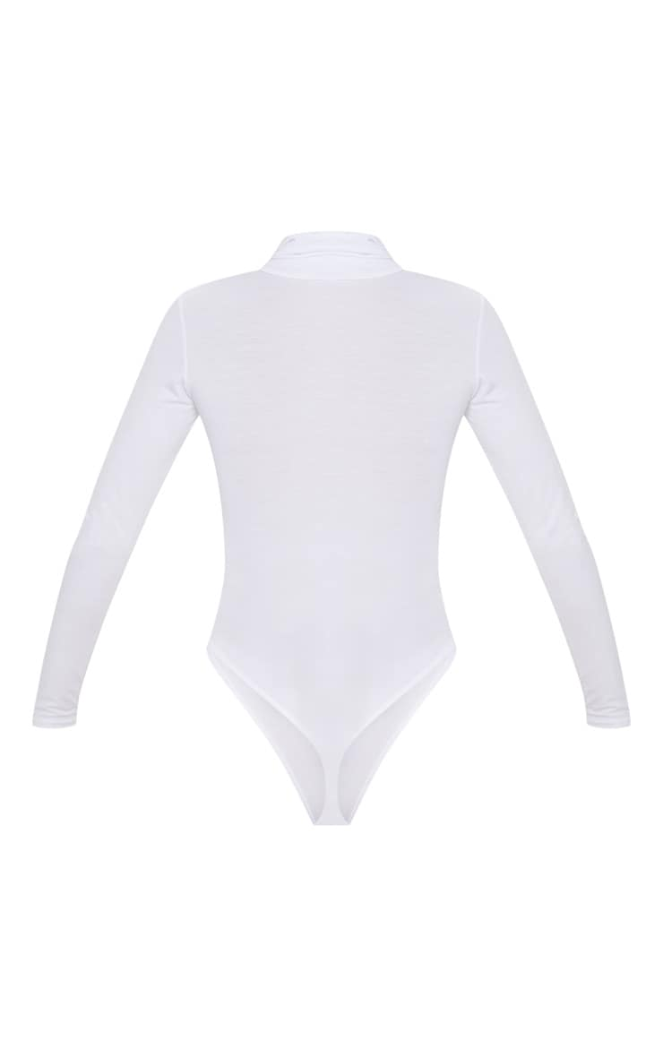 Basic White Roll Neck Long Sleeve Bodysuit 2
