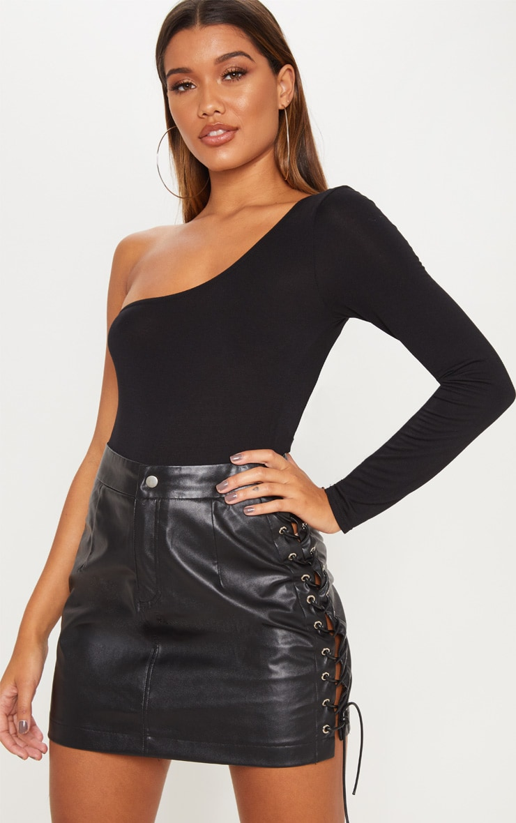 Black Faux Leather Lace Up Mini Skirt 5