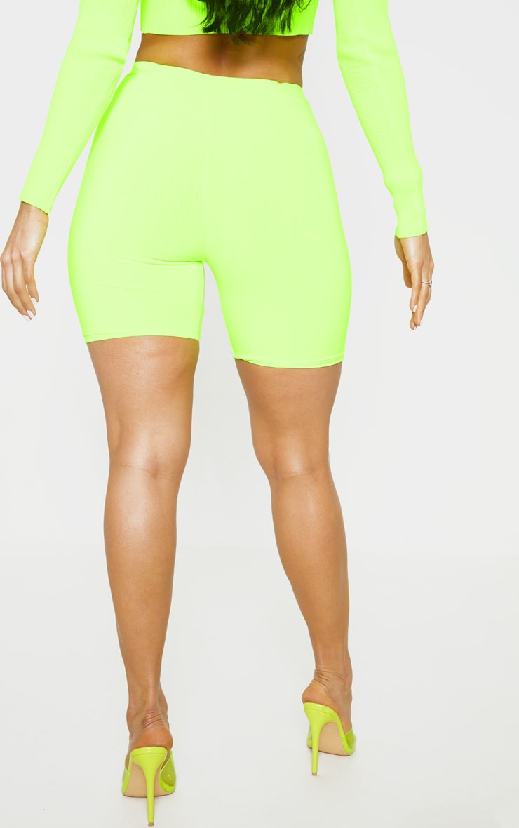 Neon Lime Slinky High Waisted Bike Shorts 4