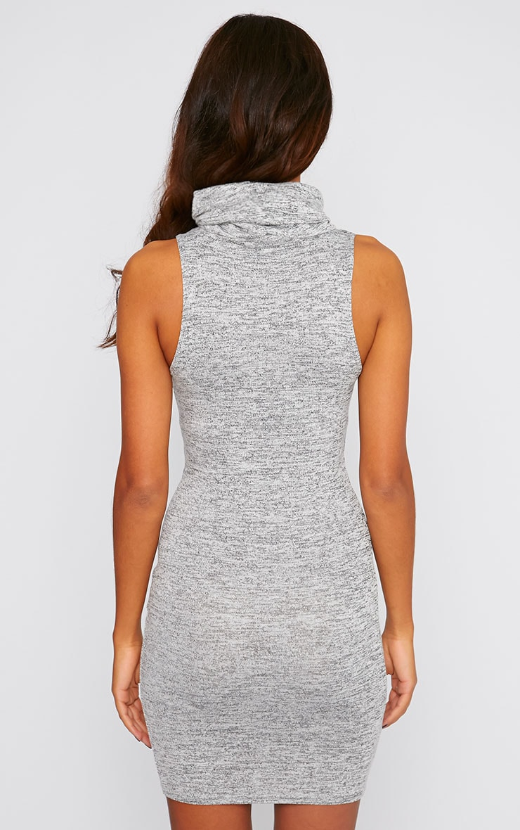 Hazel Charcoal Marl Roll Neck Knitted Dress 2