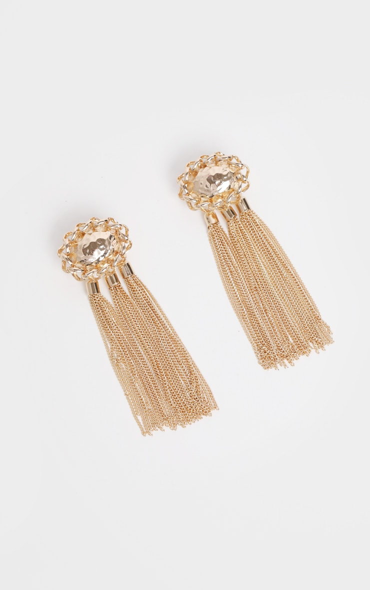 Gold Hammered Triple Tassel Drop Earrings 2