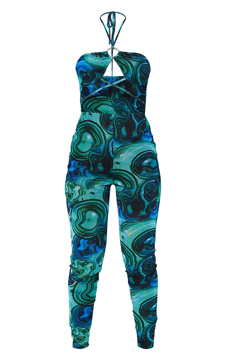 Blue Marble Print Ring Cut Out Mesh Jumpsuit 5