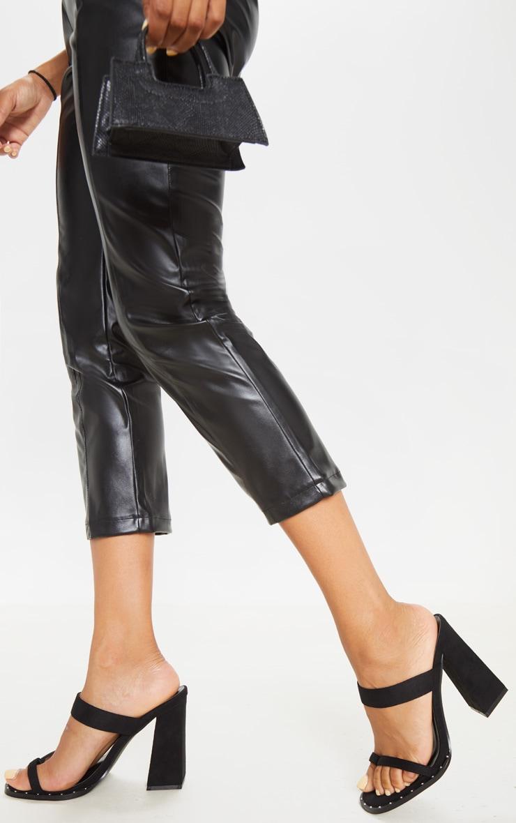 Black Toe Loop Mule Block Heel Stud Detail Sandal 2