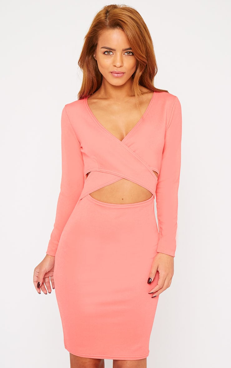 Hayley Coral Crepe Cross Over Dress 1