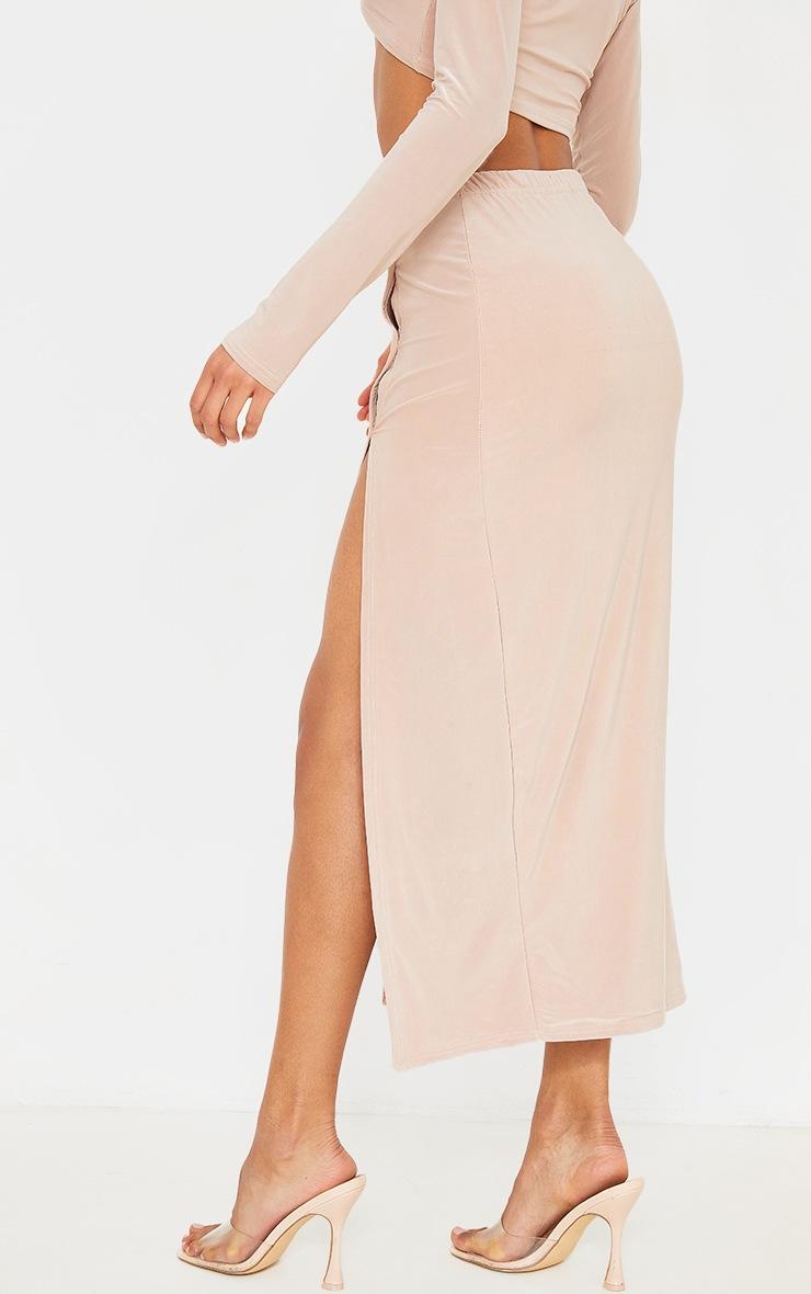 Stone Slinky Button Detail Split Leg Midaxi Skirt 2