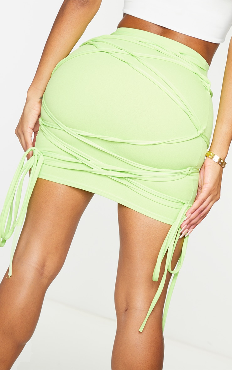 Shape Lime Extreme Tie Detail Wrap Bodycon Skirt 5