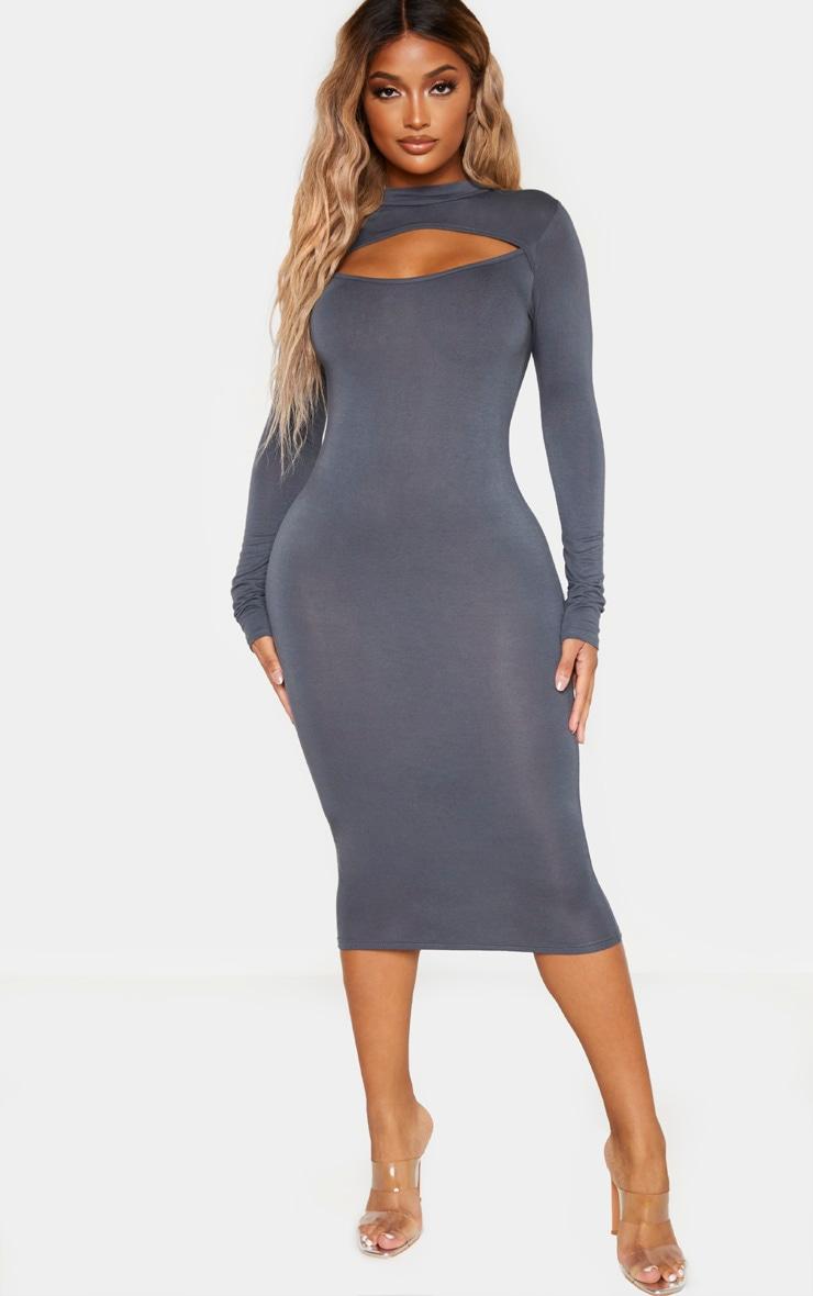 Shape Charcoal Jersey Cut Out Long Sleeve Midi Dress 1