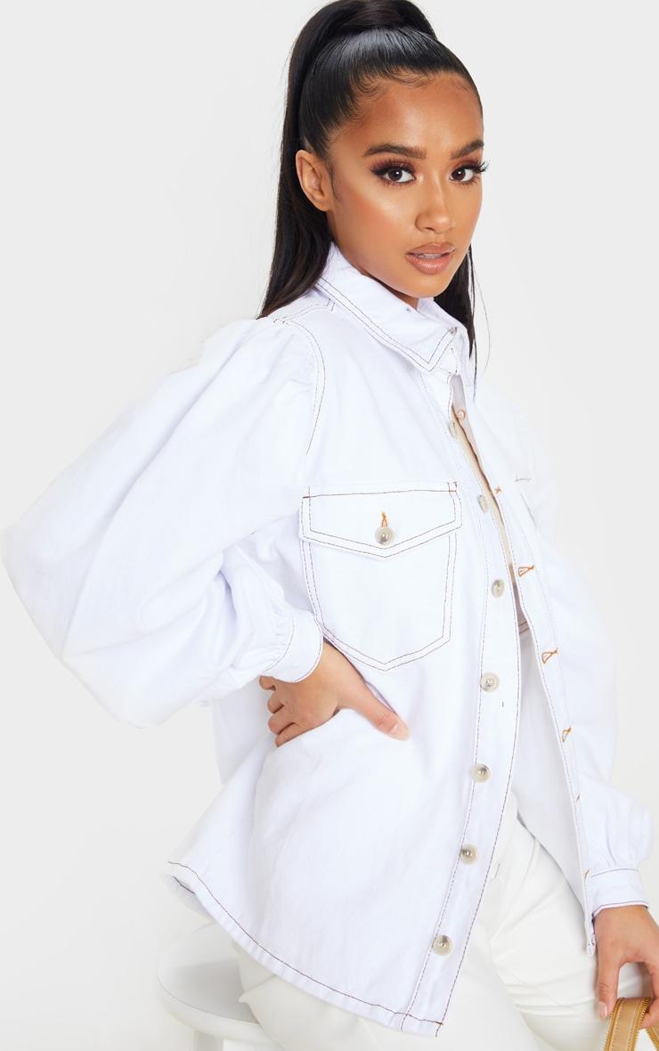 Petite - Chemise en jean oversize blanc à manches bouffantes 5