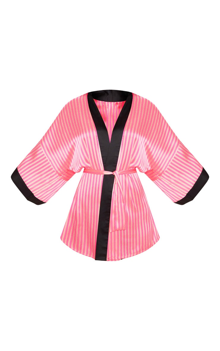 PRETTYLITTLETHING Plus Pink Stripe Satin Robe 3