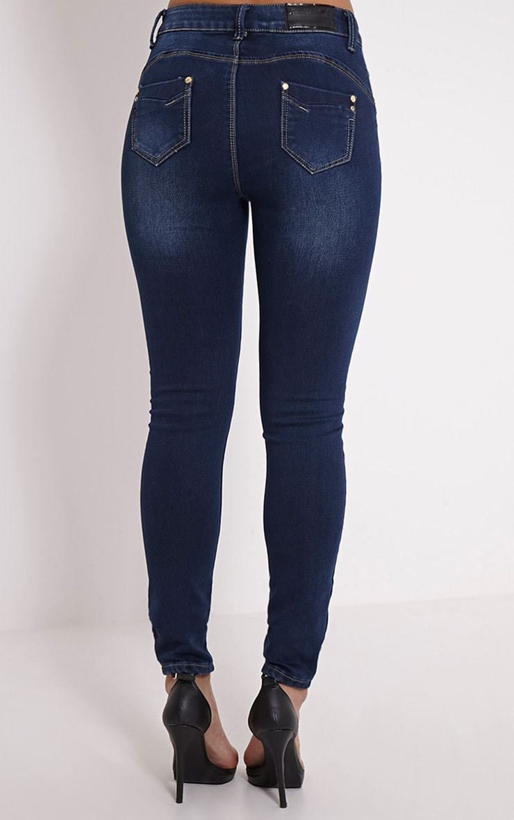 Teegan Stone Wash Five Pocket Skinny Jeans 4