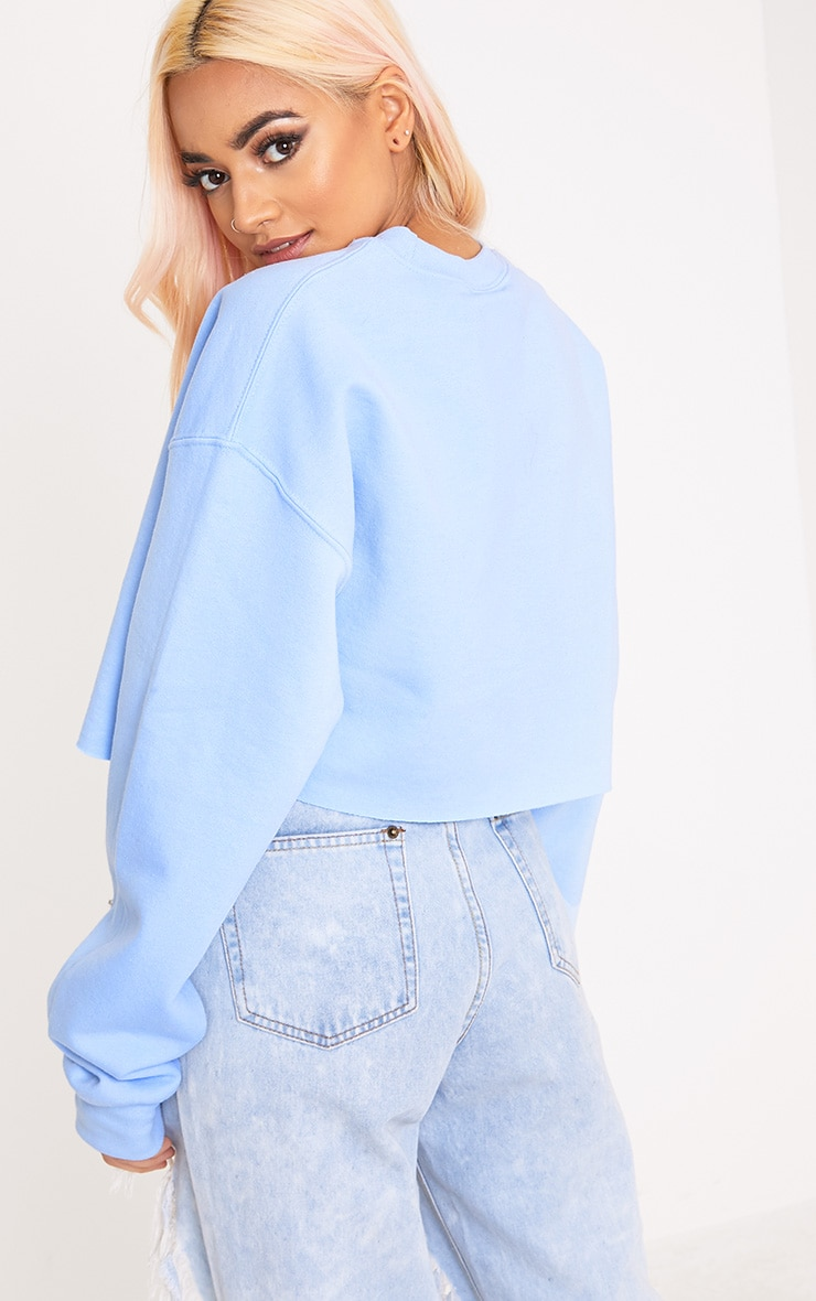 Lightning Slogan Light Blue Cropped Sweater 2
