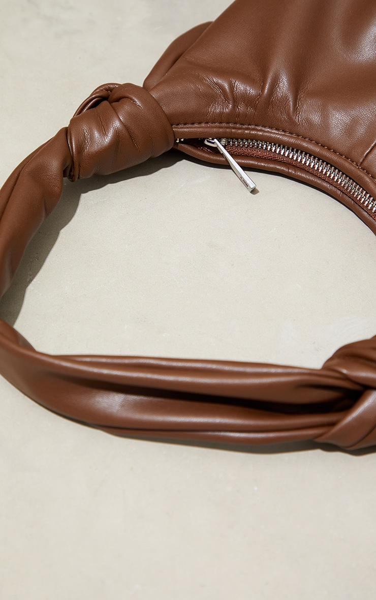 Chocolate Double Knot Rounded Shoulder Bag 3